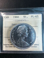 1966 CANADA 'LARGE BEADS' SILVER DOLLAR COIN   ICCS PL 65