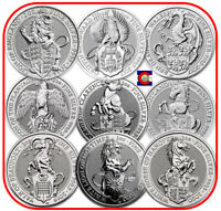 2016 2020 QUEEN'S BEAST 2 OZ SILVER COINS   9 COIN SET   LION TO WHITE HORSE