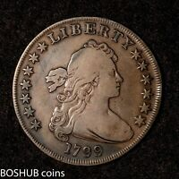 1799 DRAPED BUST SILVER DOLLAR NORMAL DATE 13 STARS  TONING
