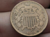 1864 TWO 2 CENT PIECE- LARGE MOTTO- VG DETAILS, ROTATED REVERSE MINT ERROR