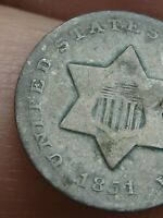 1851 THREE 3 CENT SILVER TRIME- VG DETAILS