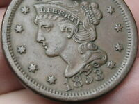 1853 BRAIDED HAIR LARGE CENT PENNY- VF/EXTRA FINE  DETAILS