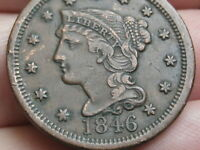 1846 BRAIDED HAIR LARGE CENT PENNY- EXTRA FINE  DETAILS, TALL DATE
