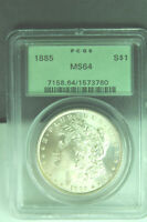 1885-P MORGAN SILVER DOLLAR PCGS CERTIFIED MINT STATE 64 GEM IN OLD GREEN SLAB