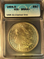 1904 O ICG MINT STATE 64 VAM 32 INCUSED G, DOUBLED REVERSE MORGAN SILVER DOLLAR