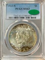 1923-S SILVER PEACE DOLLAR $1 COIN PCGS MINT STATE 63 TONED BETTER COIN