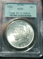 1923-P PEACE SILVER DOLLAR PCGS CERTIFIED MINT STATE 65 GEM IN OLD GREEN SLAB