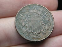 1865 TWO 2 CENT PIECE- FANCY 5, VF/EXTRA FINE  DETAILS, WE VISIBLE