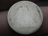 1876 P SEATED LIBERTY SILVER DIME- LOWBALL, HEAVILY WORN