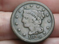 1846 BRAIDED HAIR LARGE CENT PENNY- FINE DETAILS, SMALL DATE