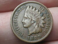 1889 INDIAN HEAD CENT PENNY- VF/EXTRA FINE  DETAILS