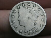 1898 LIBERTY HEAD V NICKEL- VG/FINE DETAILS - FULL DATE