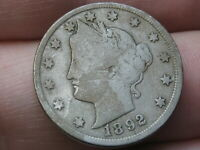 1892 LIBERTY HEAD V NICKEL- VG/FINE DETAILS, FULL RIMS
