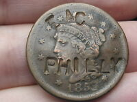 1850-1857 BRAIDED HAIR LARGE CENT- EAC PHILLY COUNTERSTAMPED