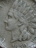 1859 COPPER NICKEL INDIAN HEAD CENT PENNY- FINE/VF DETAILS, SPOONED?