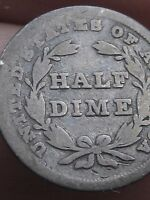 1837 SEATED LIBERTY HALF DIME, NO STARS, SMALL DATE