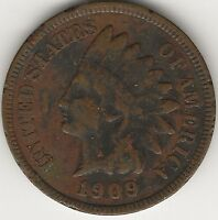 1909 INDIAN HEAD CENT / PENNY - EXACT COIN PICTURED HI-RES. SCANS - 1