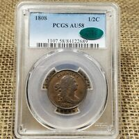1808 1/2C PCGS AU 58 CAC DRAPED BUST HALF CENT COIN   ROTATED REVERSE