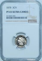 1878 NGC PR65DCAM DEEP ULTRA CAMEO 3 CENT NICKEL 3CN PROOF STRIKE