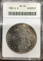 1890 S ANACS MINT STATE 62 MORGAN SILVER DOLLAR TONED