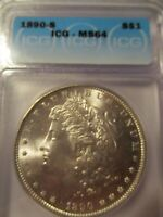 1890-S MORGAN SILVER DOLLAR ICG MINT STATE 64