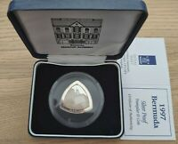 BERMUDA  SILVER PROOF TRIANGULAR 3$ COIN 1997 YEAR KM99 SHIP   BOX   COA