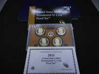 2011-S DOLLAR 4 COIN PROOF SET PRESIDENT GRANT GARFIELD HAYES JOHNSON/ BOX & CO