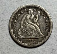 1842-O SEATED LIBERTY 10C DIME