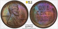 1940D MINT STATE 63 BN COLORFUL TISSUE TONED LINCOLN WHEAT CENT PCGS TRUEVIEW