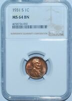 1931 S NGC MINT STATE 64BN LINCOLN WHEAT CENT LOOKS RB TO US