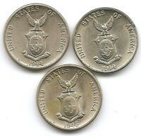 PHILIPPINES LOT OF 3 WWII 5 CENTAVO COINS IN UNCIRCULED UNC 1944 1944 S 1945S