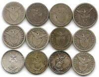 PHILIPPINES LOT OF 12 DIFFERENT SILVER 10 CENTAVOS COINS 1907   1945 US TERTY.