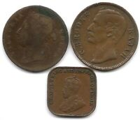 STRAITS SETTLEMENTS & SARAWAK LOT OF 3 1 CENT COINS 1870 1884 & 1920