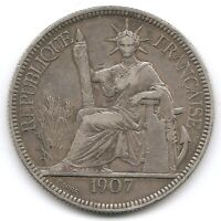 FRENCH INDO CHINA SILVER 1907 1 PIASTRE COIN KM 5A.1 STATUE OF LIBERTY