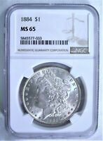 1884-P MORGAN SILVER DOLLAR NGC MINT STATE 65