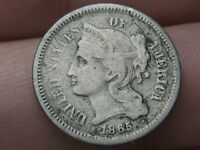 1865 THREE 3 CENT NICKEL- CIVIL WAR TYPE COIN- VG DETAILS