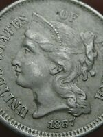 1867 THREE 3 CENT NICKEL- CIVIL WAR TYPE COIN- EXTRA FINE  DETAILS