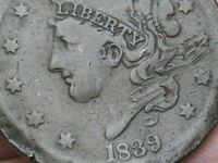 1839 MATRON HEAD LARGE CENT PENNY, VG DETAILS, SILLY HEAD VARIETY