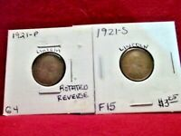 1921 PHILADELPHIA GOOD WITH ROT REV / 1921 SAN FRANCISCO FINE PLUS LINCOLN CENTS