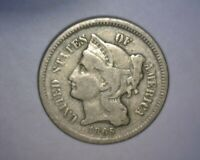 1865 THREE CENT NICKEL,