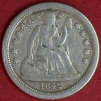 1842-O SEATED LIBERTY DIME VF DETAILS