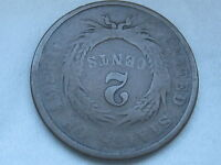 1864 TWO 2 CENT PIECE- LARGE MOTTO, COMPLETELY ROTATED REVERSE MINT ERROR
