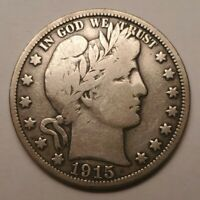 1915 S BARBER SILVER HALF DOLLAR BETTER DATE US COIN