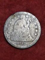 1842 SILVER SEATED LIBERTY DIME 6