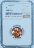 1951 D/S NGC MINT STATE 65RD RED FS-512 OMM OVER MINT MARK LINCOLN WHEAT CENT