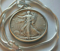 1939 US MINT WALKING LIBERTY SILVER PENDANT ON AN 18