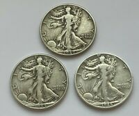 LOT OF 3 WALKING LIBERTY 1942,1944 AND 1945 D SILVER HALF DOLLAR COINS