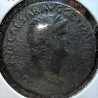 50 TO 68 AD ROMAN LARGE SESTERTIUS COIN FEATURING NERO