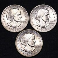 UNCIRCULATED 1979 1979 D 1979 S SUSAN B ANTHONY DOLLAR 3 COI