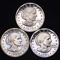 PROOF 1979 S 1980 S 1981 S SUSAN B ANTHONY DOLLAR 3 COINS